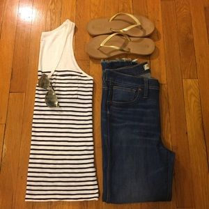 J.Crew Vintage Cotton Striped V Neck Tank